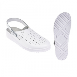 PILLE (E) sarokpántos fehér papucs, antisztatikus, O1