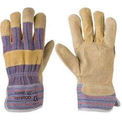 TOD hasított marhabőr rakodókesztyű, textíl kézhát, textíl mandzsetta