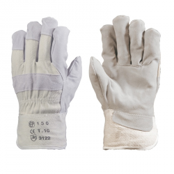 Védőkesztyű szürke marhahasíték tenyérbéléssel, fehér vászon kézhát, 10
