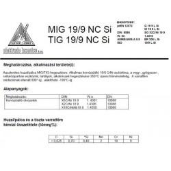 Hegesztő huzal MIG 19/9 NC SI 0.8/15 kg